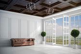 3D krásné vintage bílé interiér s velkými okny