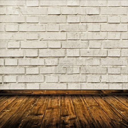 Photo for Vintage Room interior with white brick wall and wooden floor as background for product placement - Royalty Free Image