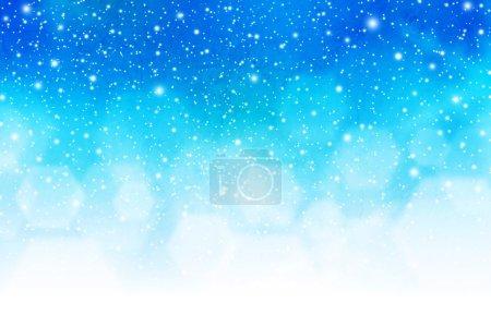 Photo pour Fond abstrait de saison d'hiver de modèle avec la lumière rougeoyante de bokeh et les flocons de neige. - image libre de droit