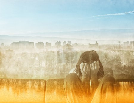 Photo for Social Alienation Concept, Depressed Man covering face and crying in despair. - Royalty Free Image