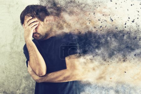 Photo for Depressed Man with Problems holding hand over his Face and Crying, occupied by Mind Blowing Thoughts - Royalty Free Image
