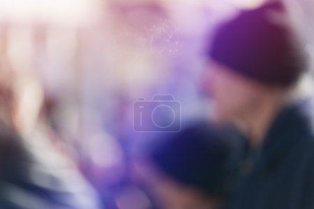 Photo for Crowd of People Walking On the Street in Bokeh, unrecognizable group of men and women as blur urban background. - Royalty Free Image