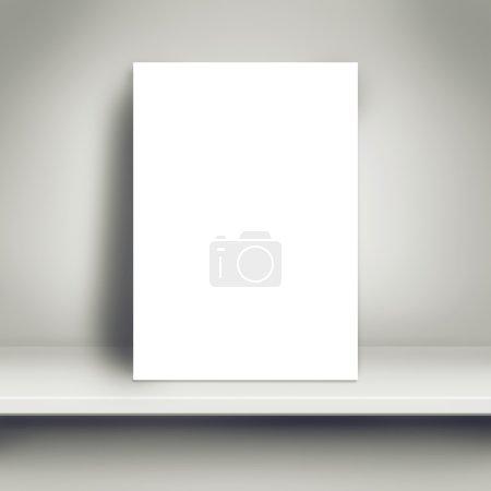 Photo pour Affiche de livre blanc vierge penchée sur l'étagère blanche dans la pièce comme espace de copie pour la conception et le modèle maquette pour ajouter votre texte . - image libre de droit