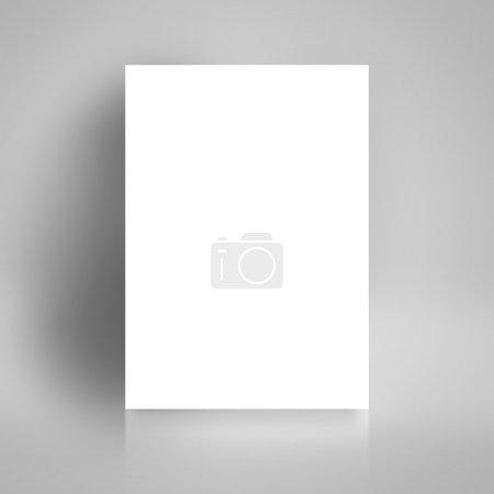 Photo pour Affiche de livre blanc vierge appuyée sur le mur blanc de la salle de studio comme espace de copie pour la conception et le modèle Maquette pour ajouter votre texte . - image libre de droit