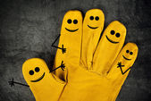 Happy Laughing Smileys on Fingers of Protective Gloves
