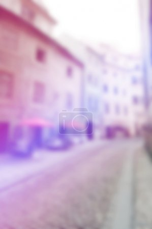 Blurred abstract background of European old town street