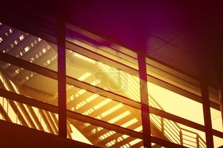 städtisches Gebäude Brandflucht Treppe, abstrakte geometrische composi