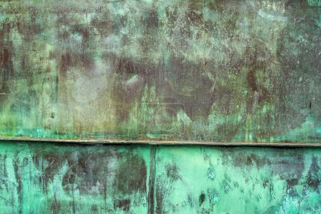 Oxidized Green Copper Plate Texture as Background