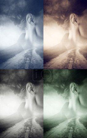 Photo pour Portrait de femme inquiète double exposition avec route de campagne sans fin vers nulle part, effet de tonalité rétro vintage, quatre tons différents - image libre de droit
