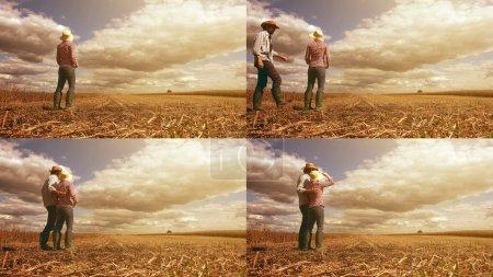 Young farmer couple planning new seeding season