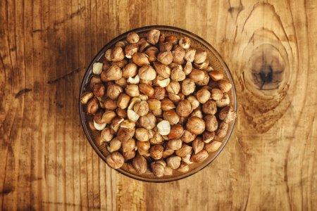 Plenty of ripe hazelnuts in bowl