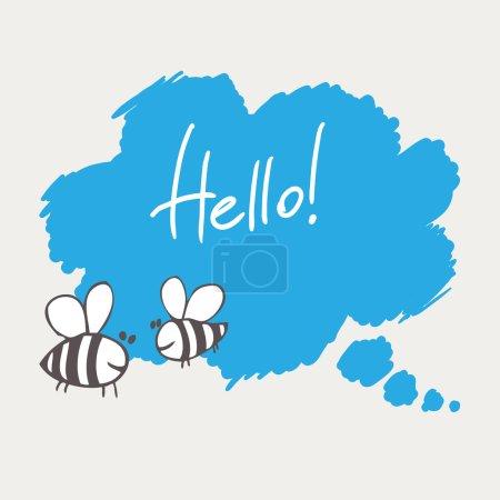 Illustration pour Dessin à la main bulle de communication avec deux abeilles sur fond gris - image libre de droit