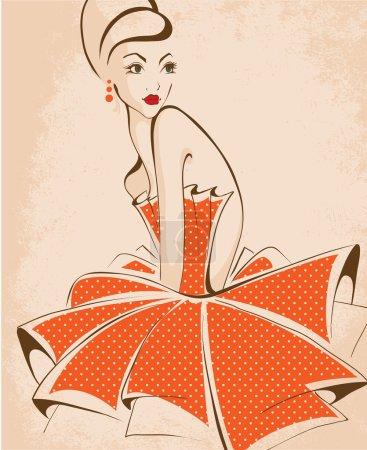 Illustration pour Belle femme posant, d'isolement sur le blanc, style rétro - image libre de droit