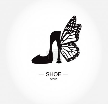 Logo shoe store, shop, fashion collection, boutique label.