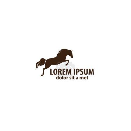 Illustration pour L'emblème du cheval. Icône de cheval de course, silhouette vectorielle - image libre de droit