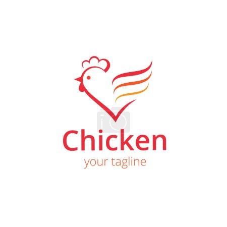 Illustration pour Signe, poulet stylisé en silhouette. Modèle de conception de logo - image libre de droit