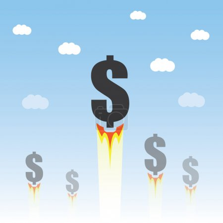 Rising Dollar Sign - Economy Growth or Business Concept Design