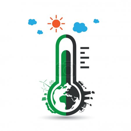 Global Warming, Ecological Problems and Solutions - Thermometer Tool Icon Design Concept