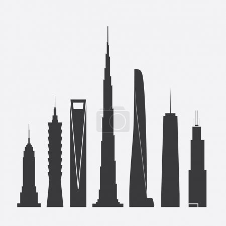 Set of Vector Illustrations of Famous Skyscrapers. Empire State Building, Taipei 101, Shanghai World Financial Ctr., Burj Khalifa, Shanghai Tower, One World Trade Ctr., Willis Tower