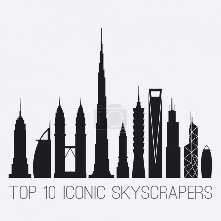 Iconic Skyscrapers. Empire St. Building, Burj Al Arab, Petronas Towers, Burj Khalifa, Chrysler Building, Taipei 101, Shanghai World Financial Ctr, Willis And Bank of China TWR, Gherkin