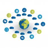 Digital World - Networks IoT and Cloud Computing Concept Design with Icons