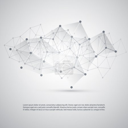 Illustration for Silver Grey Cloud Computing and Network Connections Concept Design with Transparent Geometric Mesh - Illustration in Editable Vector Format - Royalty Free Image