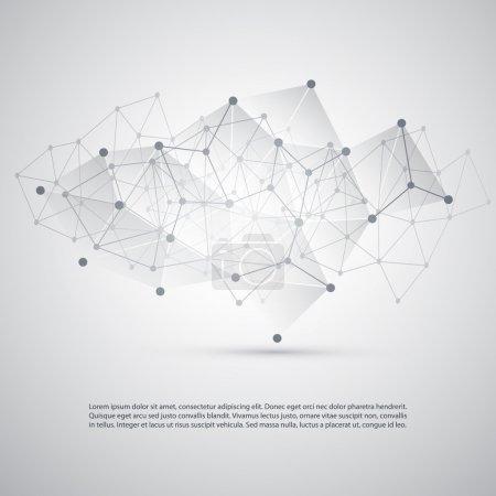 Illustration pour Conception de concepts d'informatique en nuage gris argenté et de connexions réseau avec maille géométrique transparente - Illustration en format vectoriel modifiable - image libre de droit