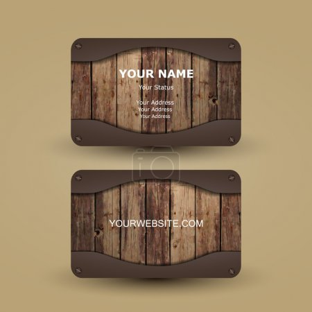 Illustration for Abstract Colorful Modern Styled Business Card Template with Metallic and Wooden Surface Background, Creative Design, Back and Front Side - Illustration in Freely Editable Vector Format - Royalty Free Image