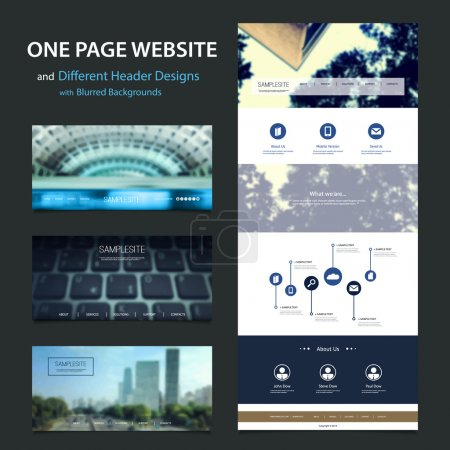 Blue One Page Website Template and Different Header Designs with Blurred Effect