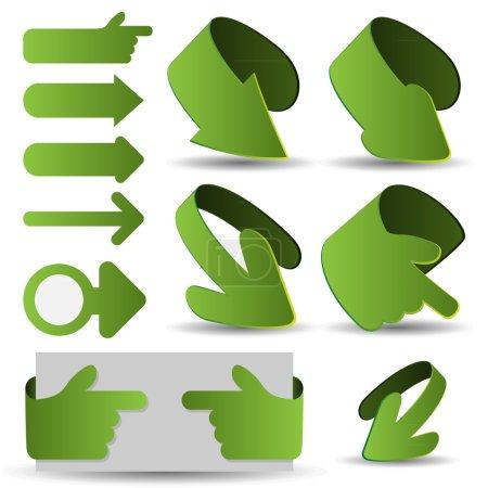 Set of Green 3D Paper Cut Arrow Illustrations Clip-Art