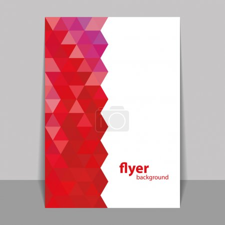 Flyer or Cover Design with Triangle Mosaic Pattern - Red