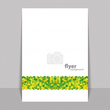 Flyer or Cover Design with Triangle Mosaic Pattern - Green and Yellow