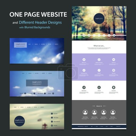 One Page Website Template and Different Header Designs with Natural Blurred Cloudy Sky, Autumn Park and Forest Pathway Image Backgrounds