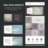 One Page Website Template and Different Header Designs with Blurred Backgrounds - Skies and Urban Dusk Concept Theme