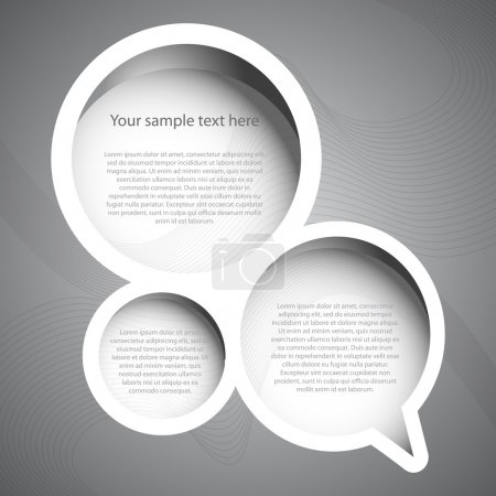 Illustration for Abstract Silver Grey Circlular Shaped Speech Bubble Set Concept Design Element for Web or Template - Black and White Illustration in Freely Editable Vector Format - Royalty Free Image