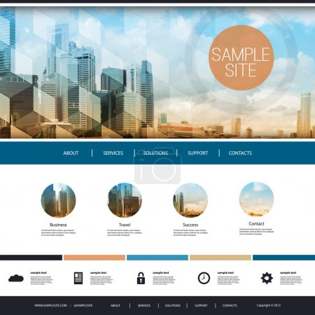 Illustration for Modern Colorful Web Site Creative Design Element Template Layout with Sunny Cityscape Skyline Image Header and Abstract Transparent 3D Pattern - Illustration for Your Business or Blog - Freely Scalable and Editable Vector Format Included - Royalty Free Image