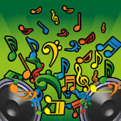 3D Colorful Speakers and Flying Musical Notes Concept Background