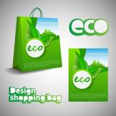 Green Abstract Natural Ecological Brochure Flyer Book Cover Background Template Layout Shopping Bag Design with Environmentally Friendly Development Theme Green Field Blue Sky Cityscape - Illustration in Freely Editable Vector Format