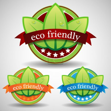 Green Five Star Eco Friendly Label or Badge Template Set