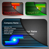 Colorful Futuristic Business Card Template Layout Set with Case - Abstract Metallic Pattern Various Colors Design for Technology