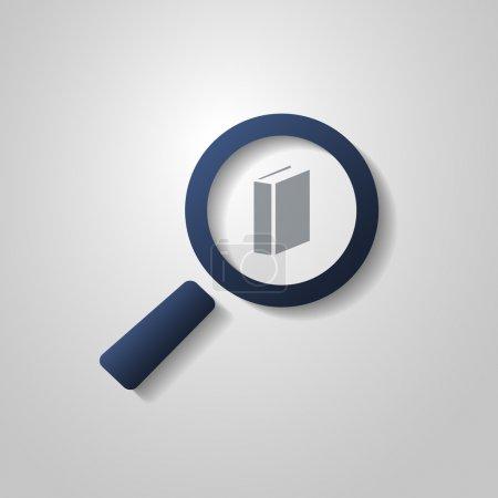 Book Icon Design with Magnifying Glass Symbol
