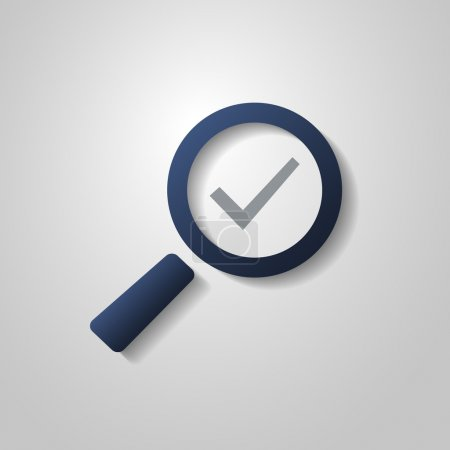 Checkmark Icon with Magnifying Glass - Flat Style Design