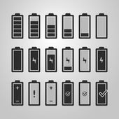 Black and White Battery Icon Set Design - Charging Level Indicator Warning Information