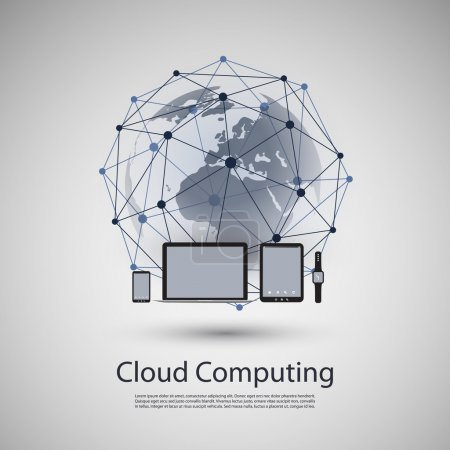 Illustration for Abstract Modern Cloud Computing, Wearable Technology, Digital Communication and Social Networking Concept Design for Business and IT with World Map, Wireless Mobile Computing Devices, Notebook and Smart Phone - Illustration in Editable Vector Format - Royalty Free Image