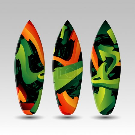 Surfboards Design Template with Abstract Graffiti Pattern