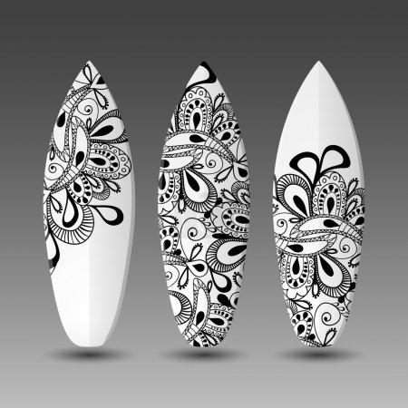 Surfboards Design Template with Abstract Ornamental Pattern