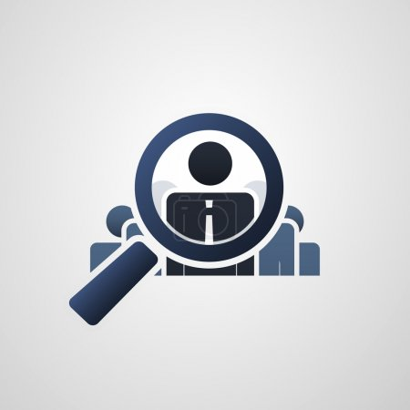 Human Resources, Personal Audit or Headhunter Symbol, Icon Design with Magnifying Glass