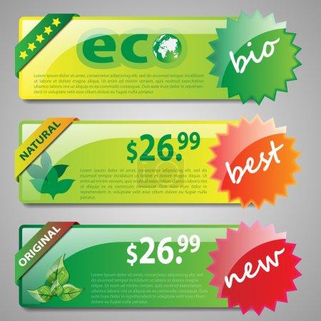 Set of Modern Eco Header Designs for Web