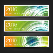 Best Wishes - Set of Three Abstract Sparkling Bright Colorful Transparent Bokeh New Year's Header Banners for Webdesign Web Template - Illustration in Freely Scalable and Editable Vector Format
