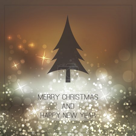 Happy Holidays, New Year and Christmas Card With Christmas Tree on a Sparkling Blurred Background